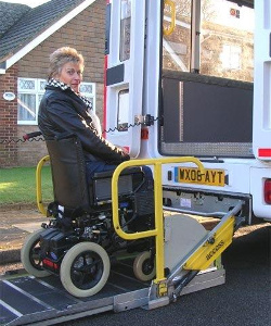 Access to the bus with a wheelchair
